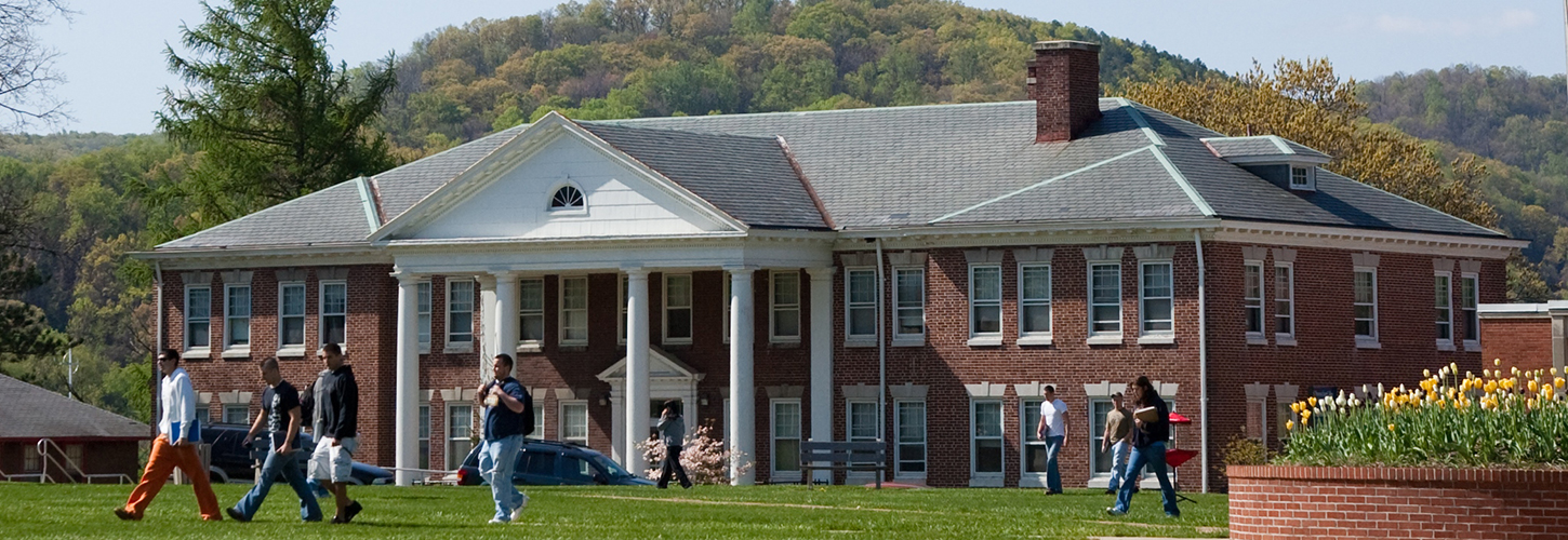 Students walking on the lawn at Potomac State College of WVU
