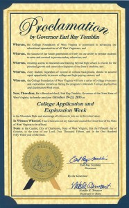 Governor Tomblin Proclaims College Application and Exploration Week 2015