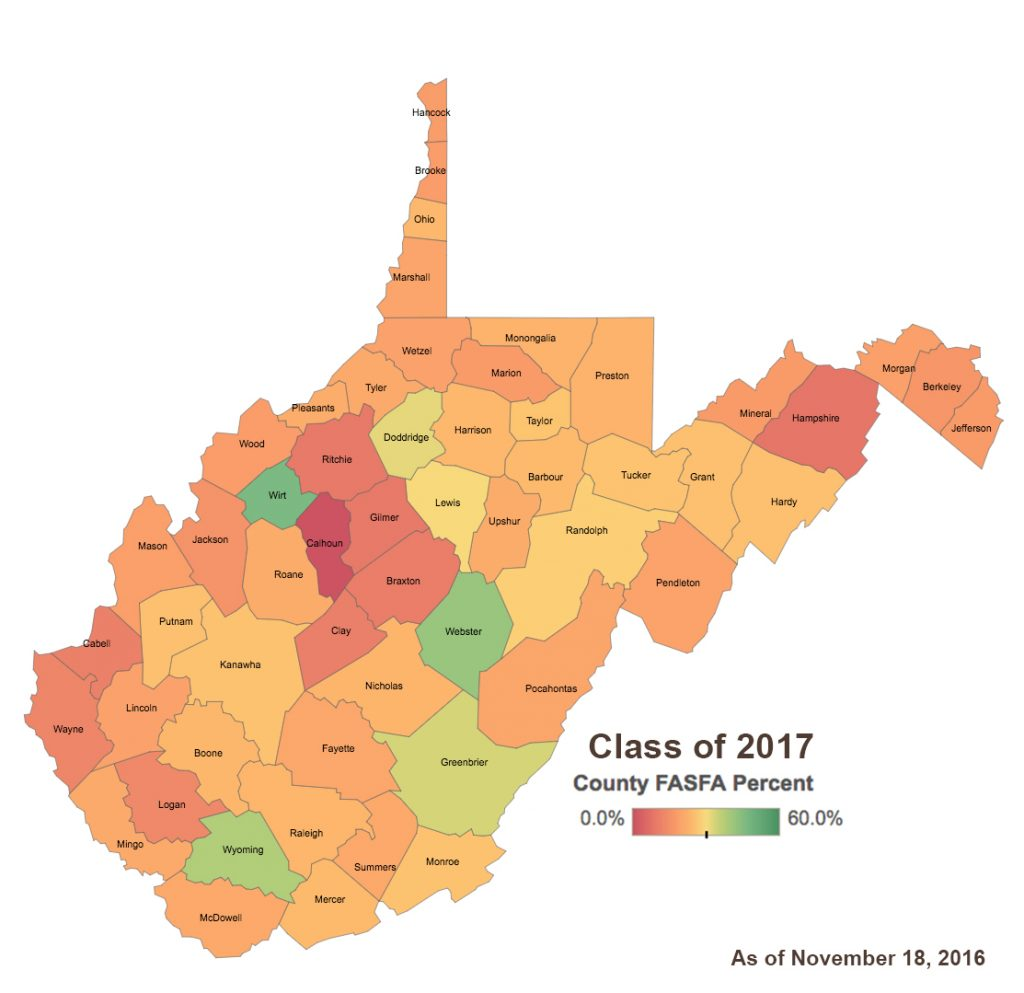 Class of 2017 FAFSA Completion Rates by WV County