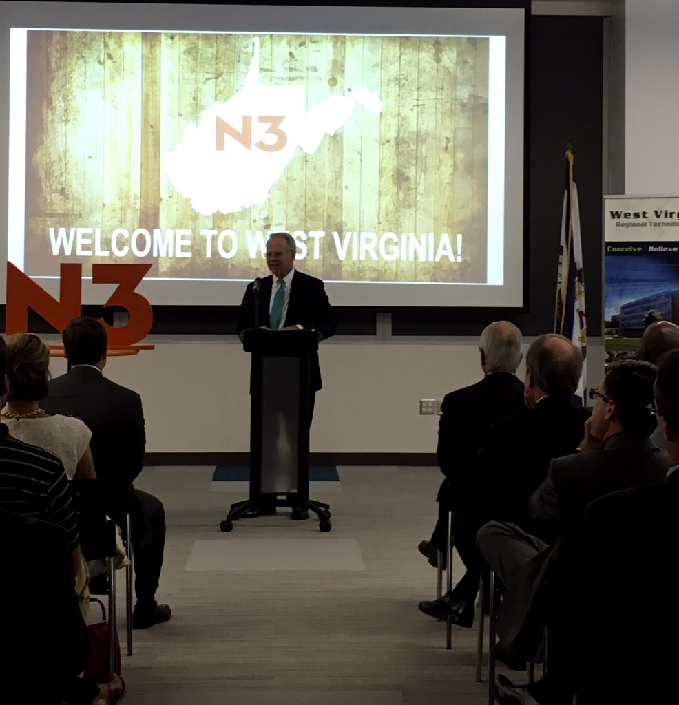 Dr. Paul Hill welcomes representatives from N3, the newest company to locate at the West Virginia Regional Technology Park.