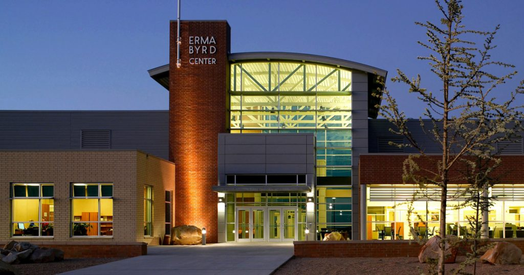 Photo of the Erma Byrd Center building at night